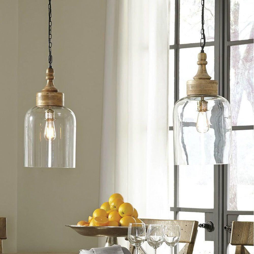 Faizah Glass Pendant Light - Transparent - Each Light Sold Separately