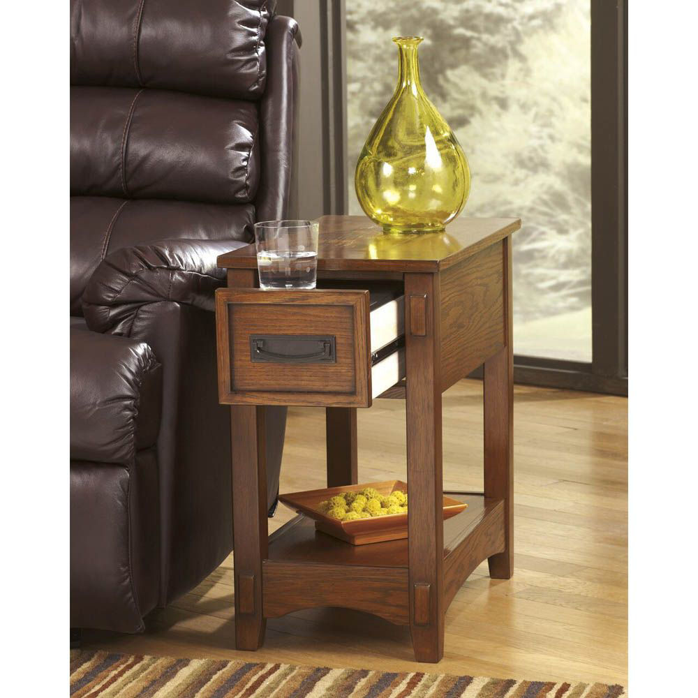 Brune Chairside End Table - Brown - Lifestyle Drawer Open