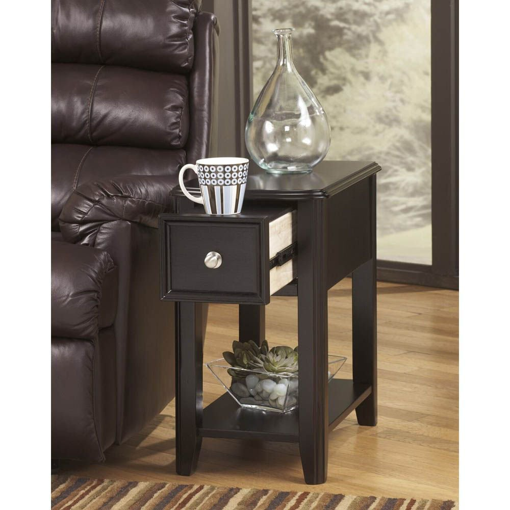 Brune Chairside End Table - Black - Lifestyle Drawer Open