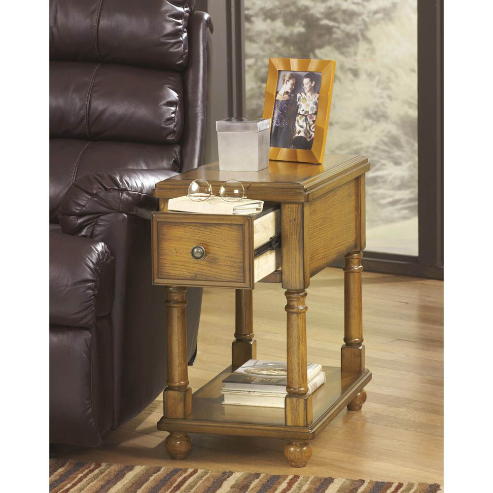 Brune Chairside End Table - Light Brown - Lifestyle Drawer Open