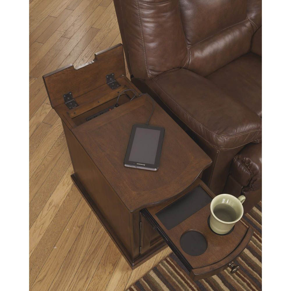 Guilder Chairside End Table - Medium Brown - Open