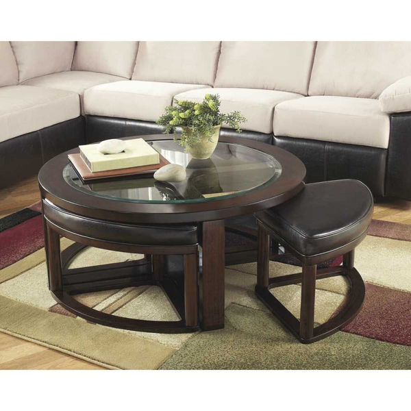 Marise Cocktail Table with 4 Stools - Brown