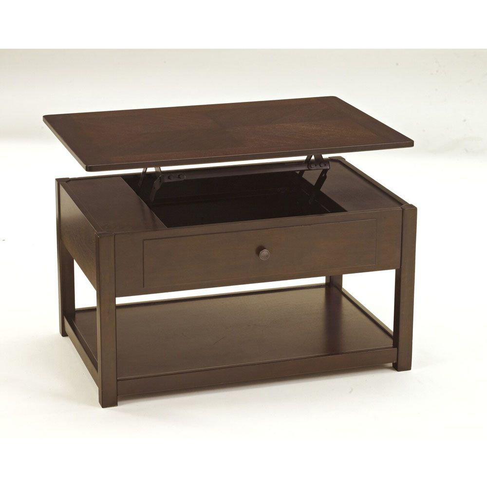 Marise Lift Top Cocktail Table - Brown - Open