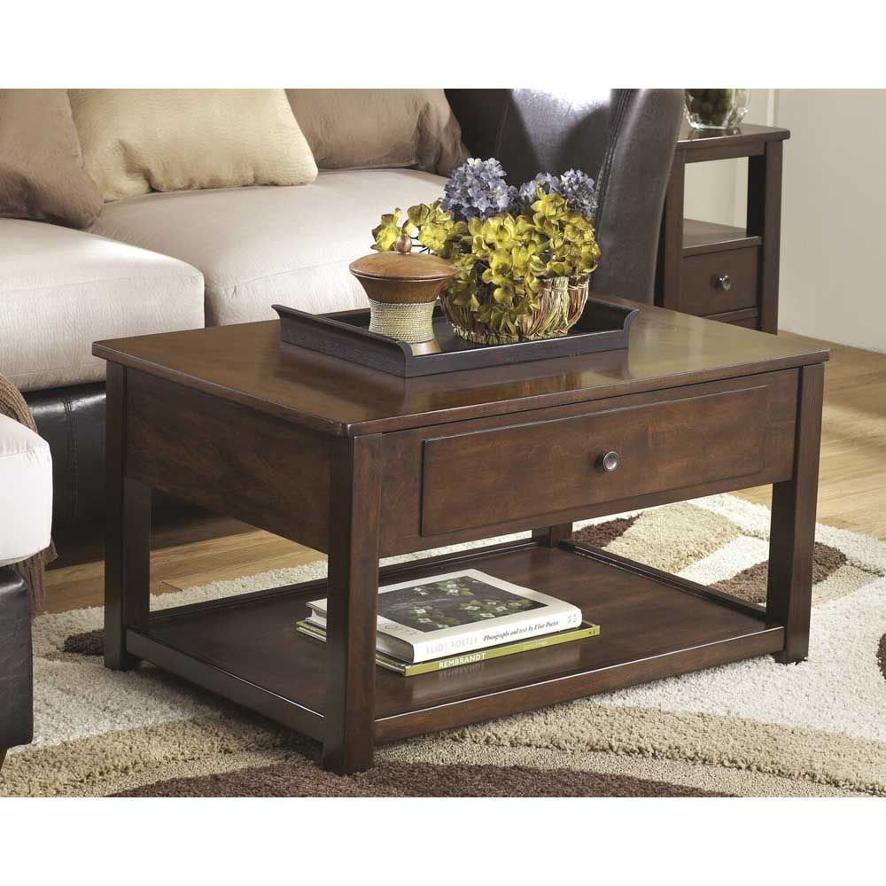 Marise Lift Top Cocktail Table - Brown - Lifestyle
