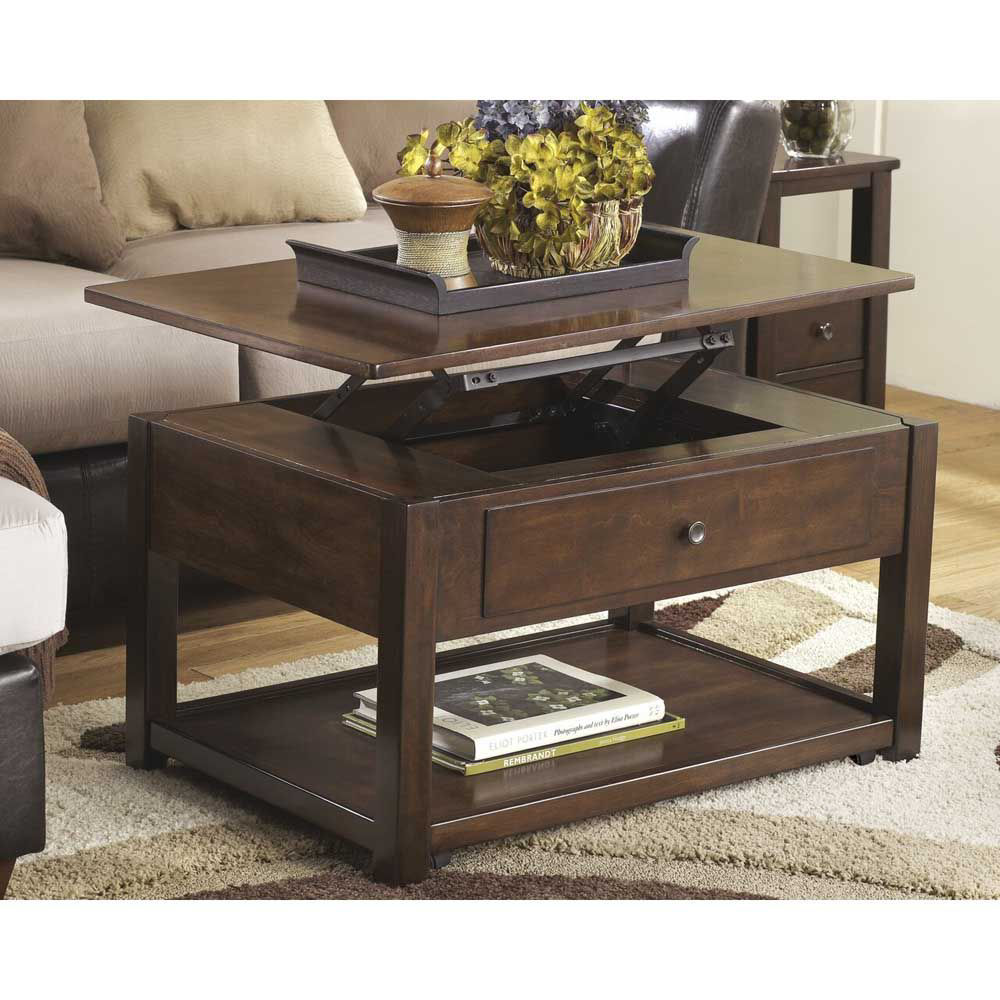 Marise Lift Top Cocktail Table - Brown - Lifestyle - Open
