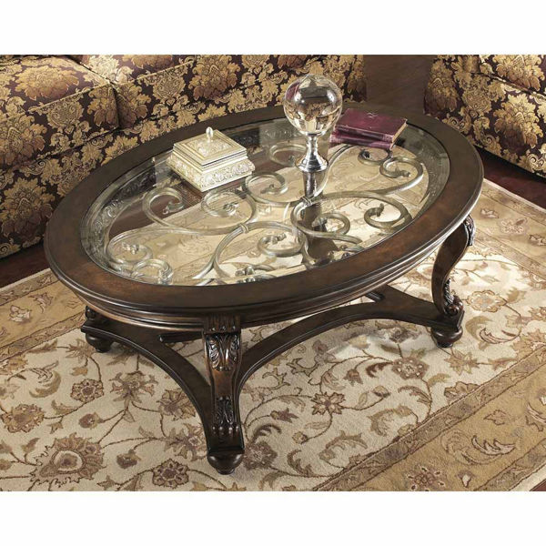Filigree Oval Cocktail Table - Dark Brown