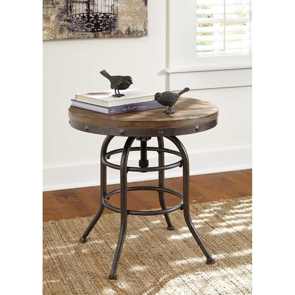 Bisque Round End Table - Lifestyle