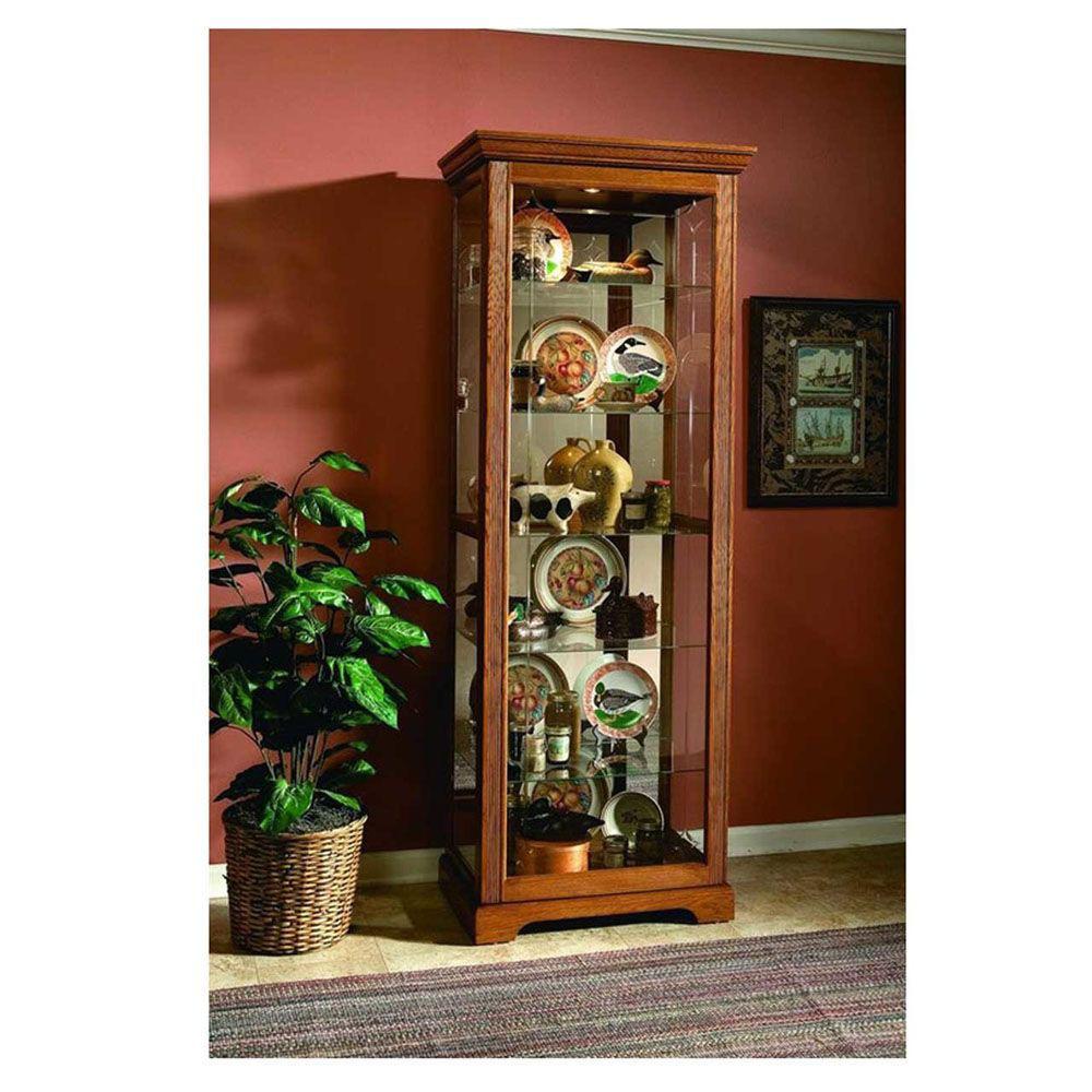 Henry Golden Oak Brown Curio Cabinet - Lifestyle