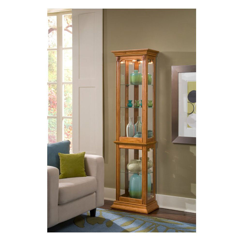 Tigris Golden Oak Brown Curio Cabinet - Lifestyle