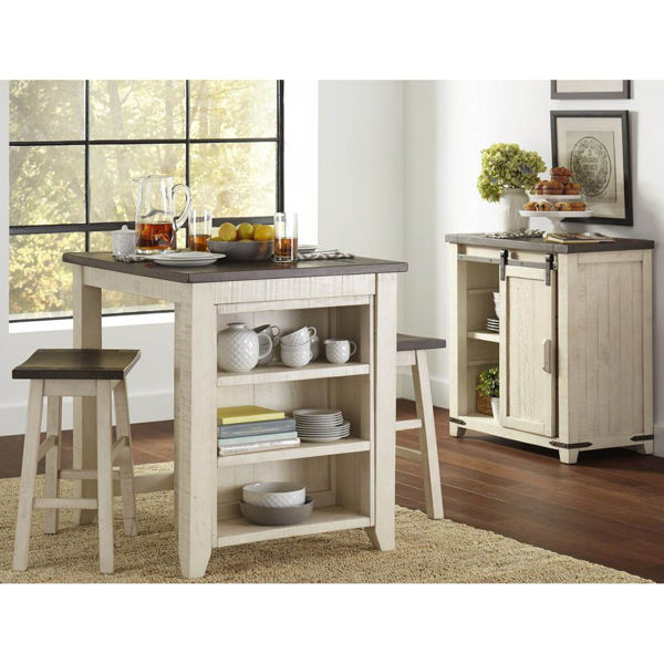 Storage Table With 2 Stools - White