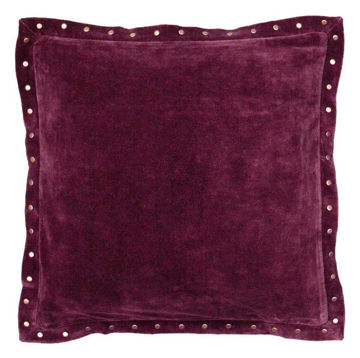 Plum Studded Velvet Pillow