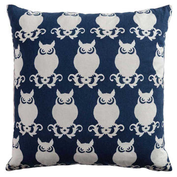 Navy And Ivory Owl Pillow