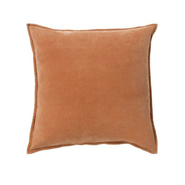 Cotton Velvet Pillow - Orange