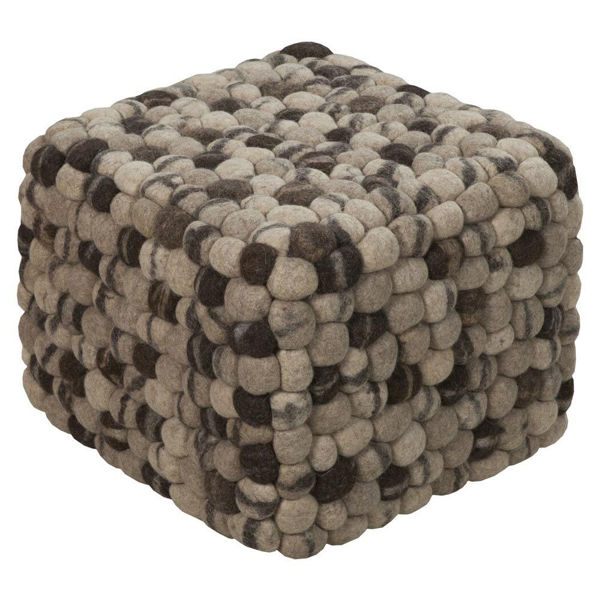 Summit Pouf - Tan and Beige