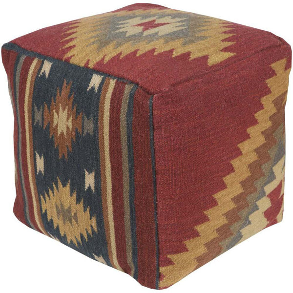 Frontier Pouf - Dark Red and Tan