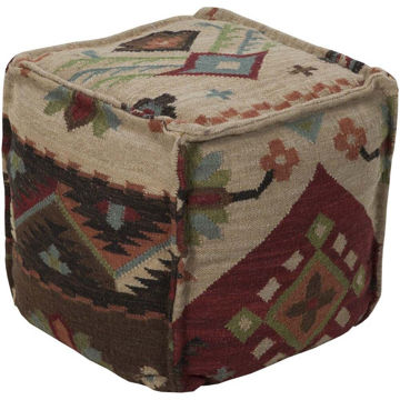 Frontier Pouf - Garnet and Taupe