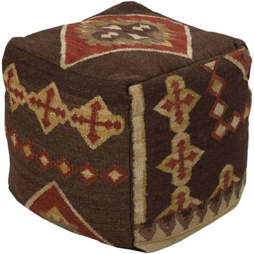 Frontier Pouf - Dark Brown and Burnt Orange