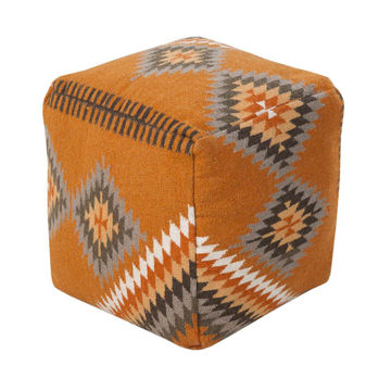 Picture of Marble Canyon Pouf - Burnt Orange