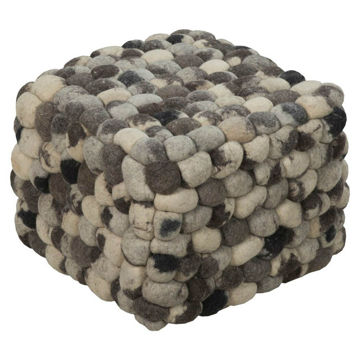Flagstone Pouf - Charcoal And Taupe