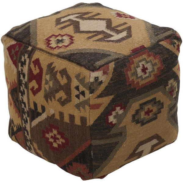 Frontier Pouf - Dark Brown and Red