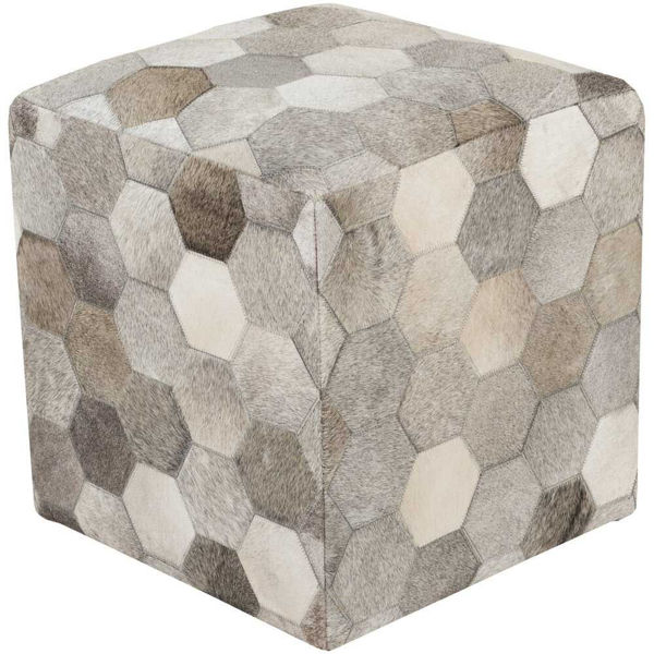 Trail Pouf - Ivory and Dark Brown