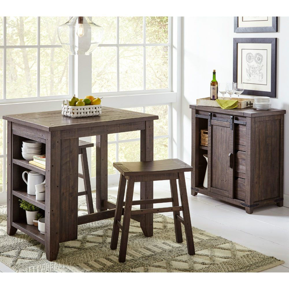 Storage Table With 2 Stools - Brown