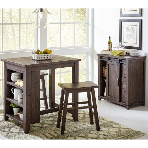Picture of Storage Table with 2 Stools - Brown