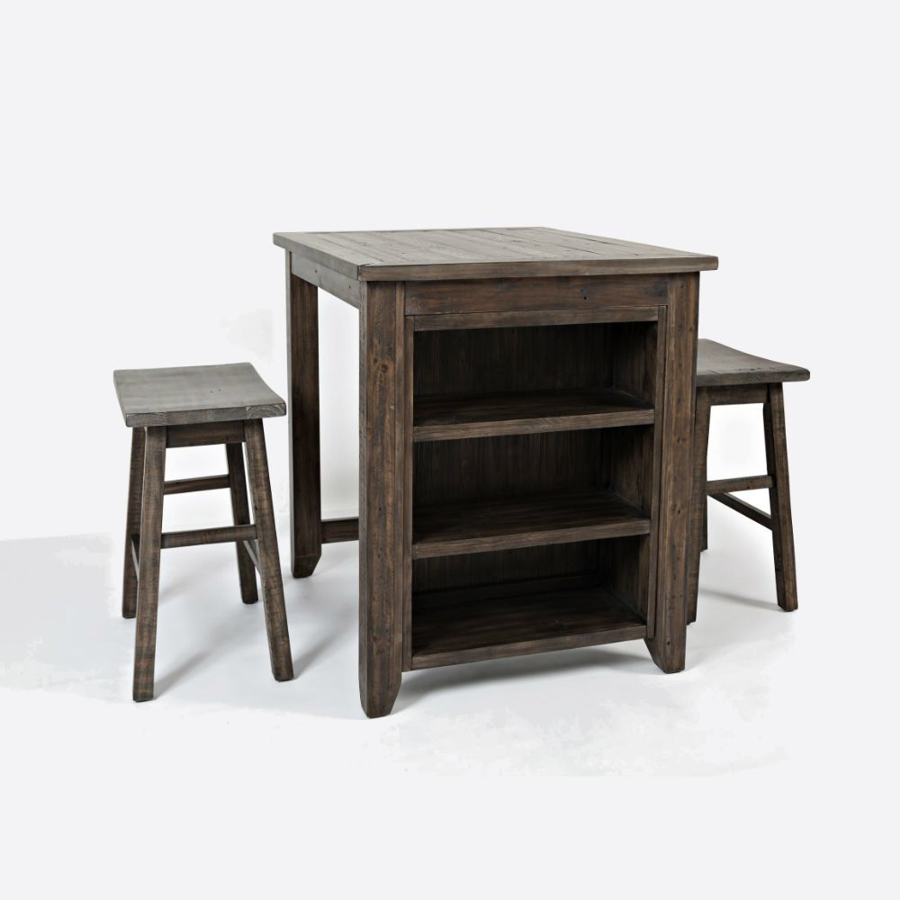 Storage Table With 2 Stools - Brown - Angle