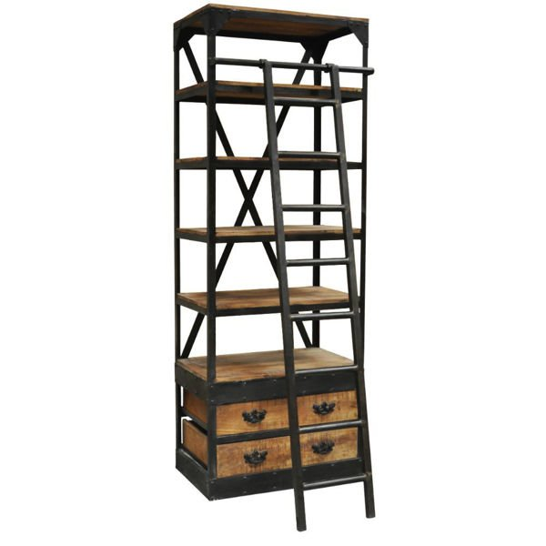 "32"" Library Bookcase with Ladder"