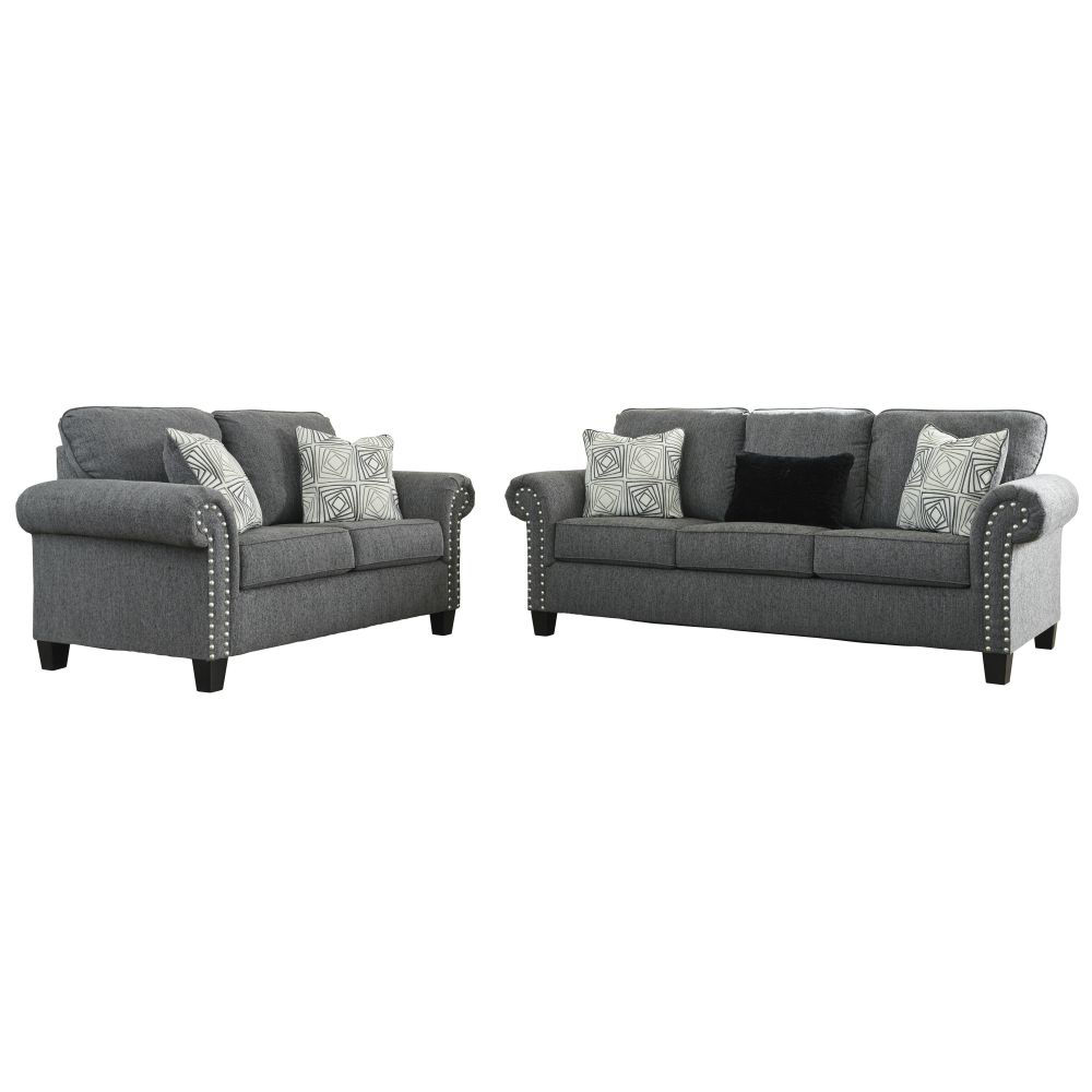Zeke Sofa and Loveseat - Charcoal