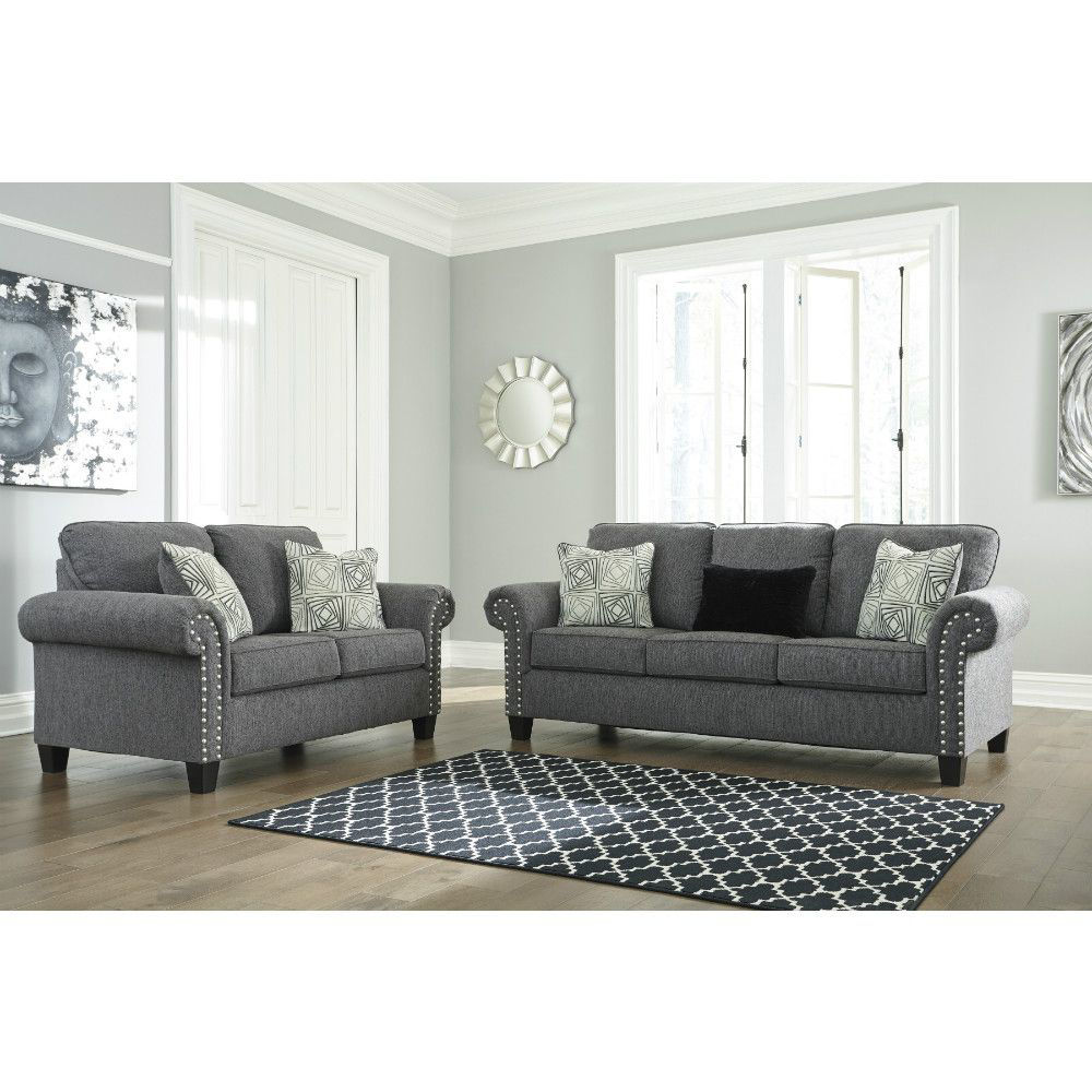 Zeke Sofa and Loveseat - Charcoal - Lifestyle