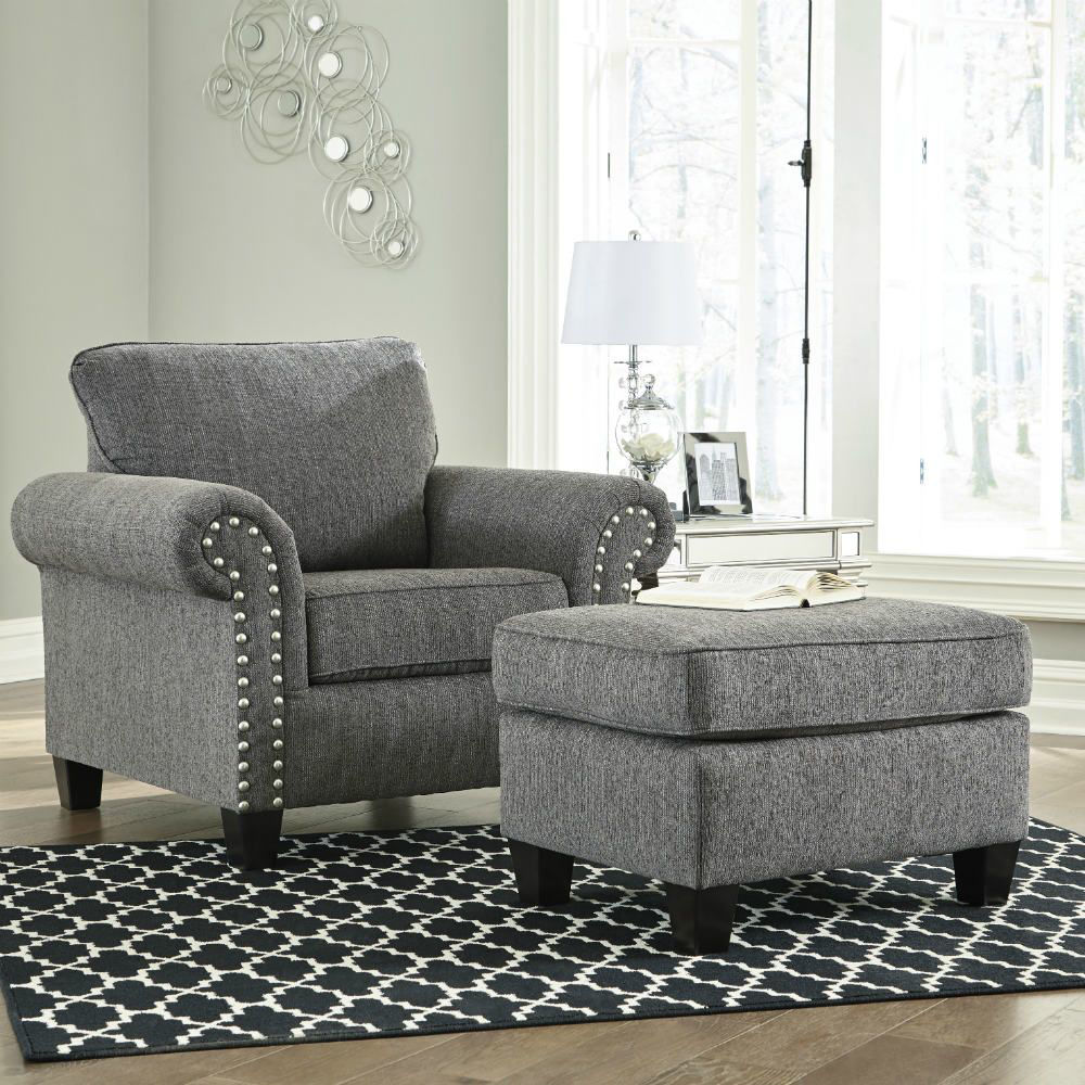 Zeke Chair and Ottoman - Charcoal - Lifestyle