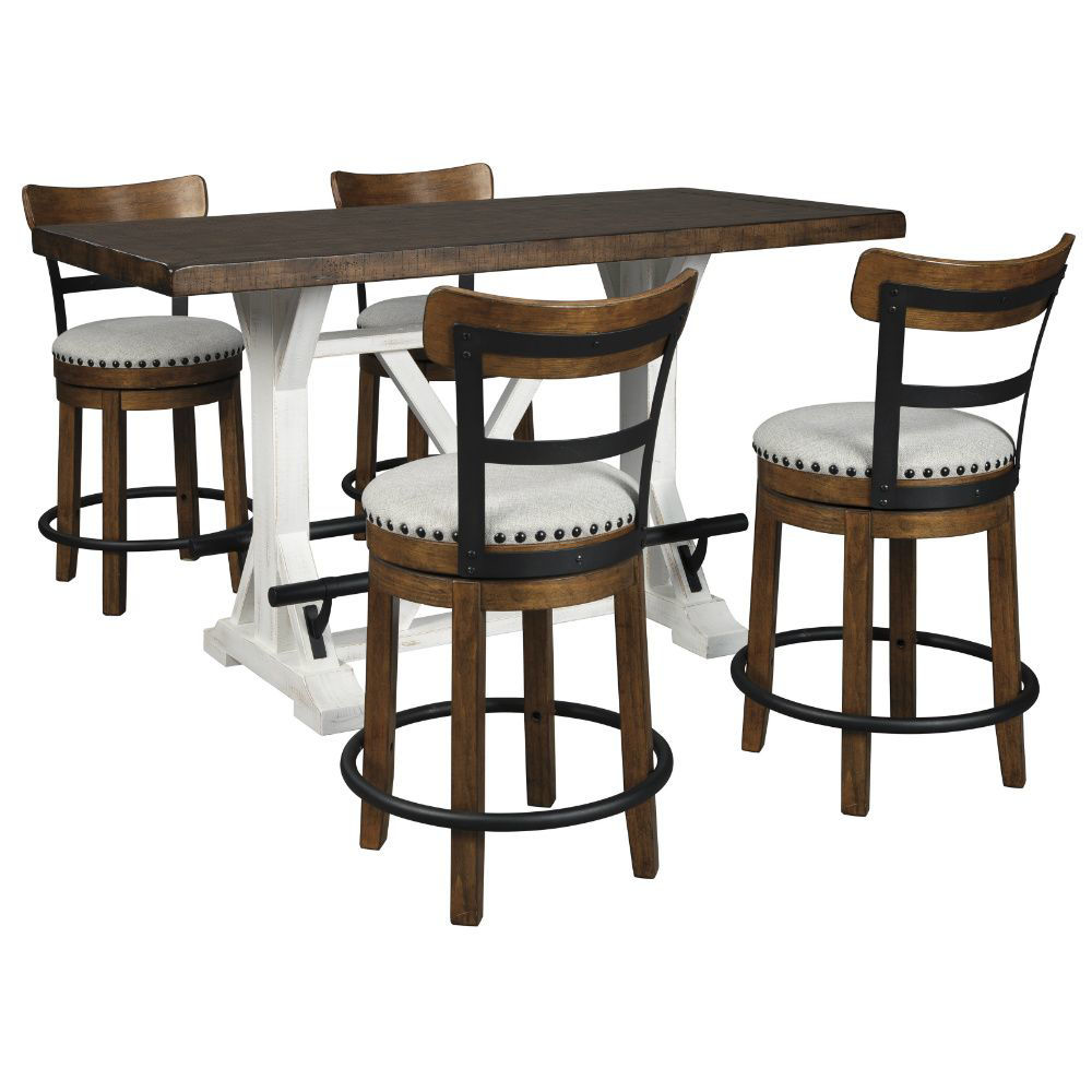 Valebeck Counter Table and 4 Brown Swivel Stools