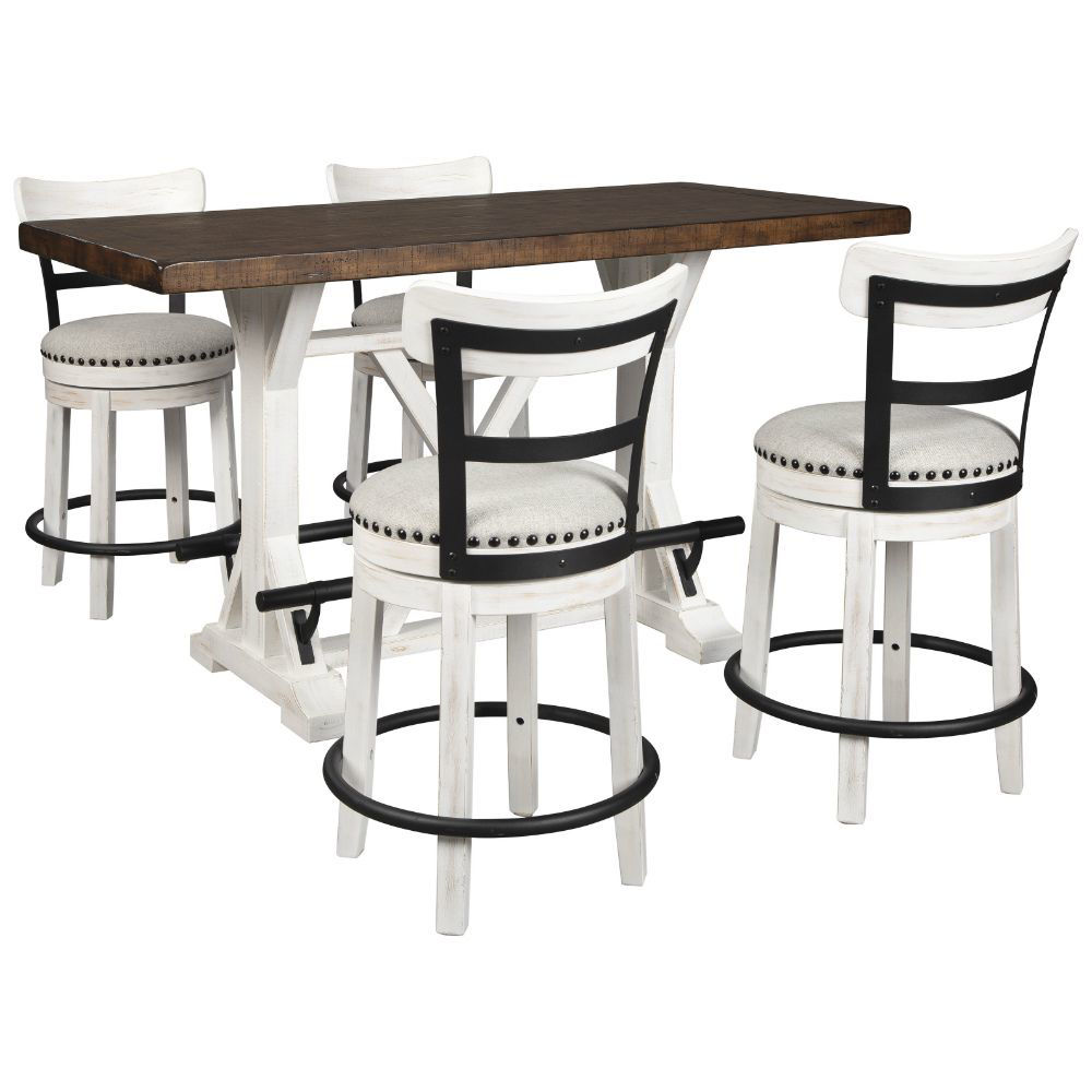 Valebeck Counter Table and 4 White Swivel Stools