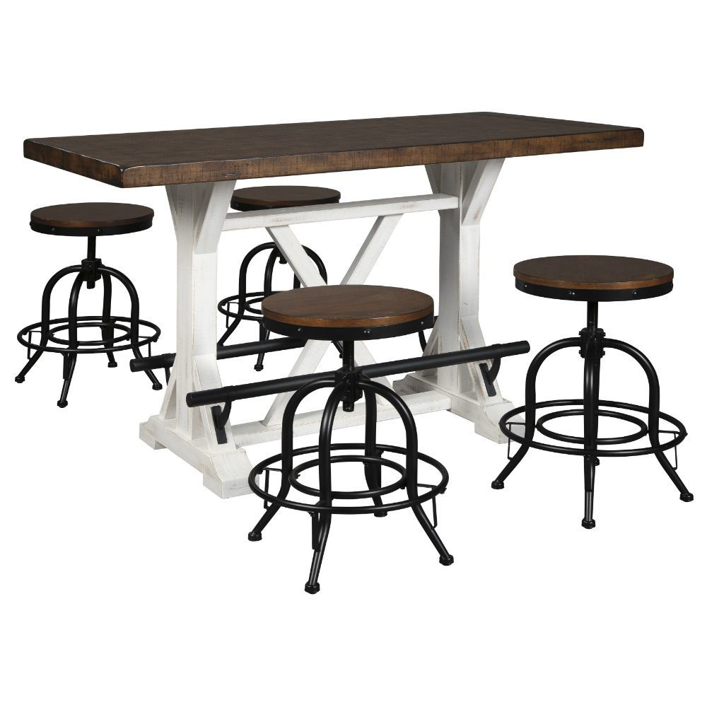 Valebeck Counter Table and 4 Swivel Stools
