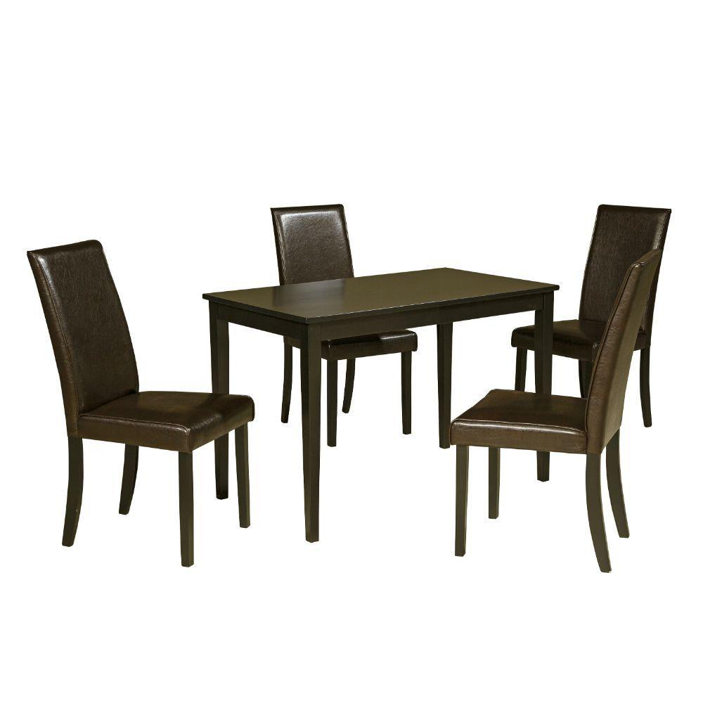 Aspen 5-Piece Dining Set - Dark Brown