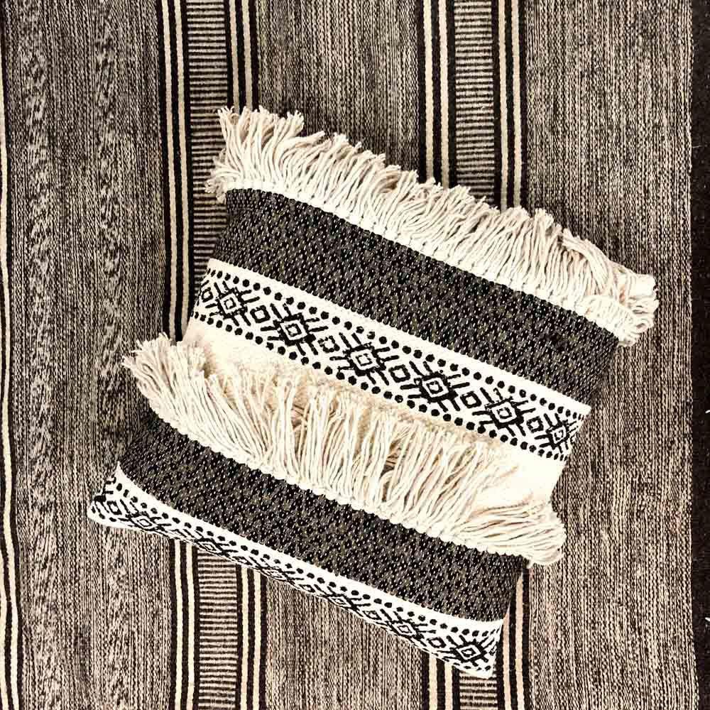 Black And White Fringe Pillow - Alt