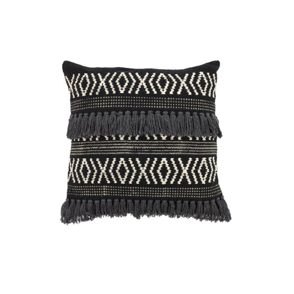 Black And White Diamond Fringe Pillow