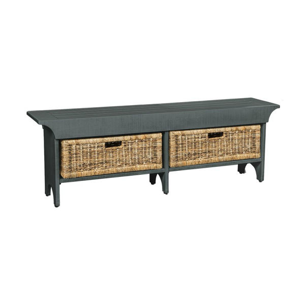 "55"" Bench with 2 Baskets - Light Blue"