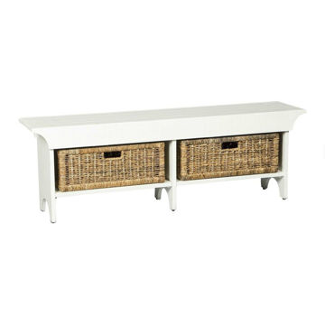 "55"" Bench with 2 Baskets - White"