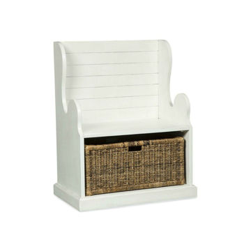 "31"" Hall Seat With Basket - White"