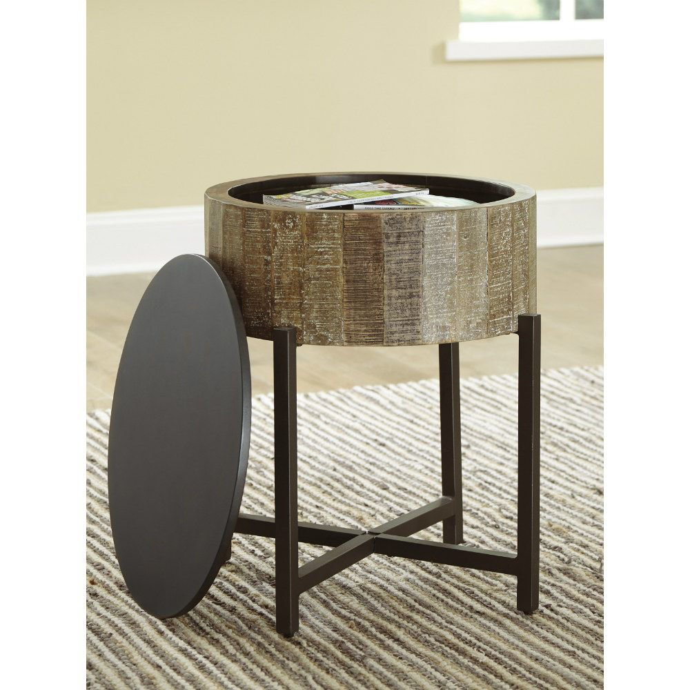 Lazer Round End Table - Lifestyle - Open Top