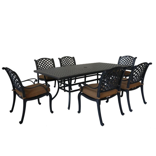 Taos 7 Piece Dining Table and Arm Chair Group