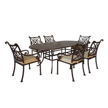 Santa Rosa 7-Piece Oval Dining Table and Arm Chairs