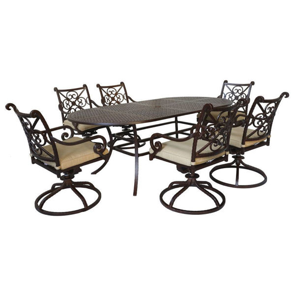 Santa Rosa 7-Piece Oval Dining Table and Swivel Chairs