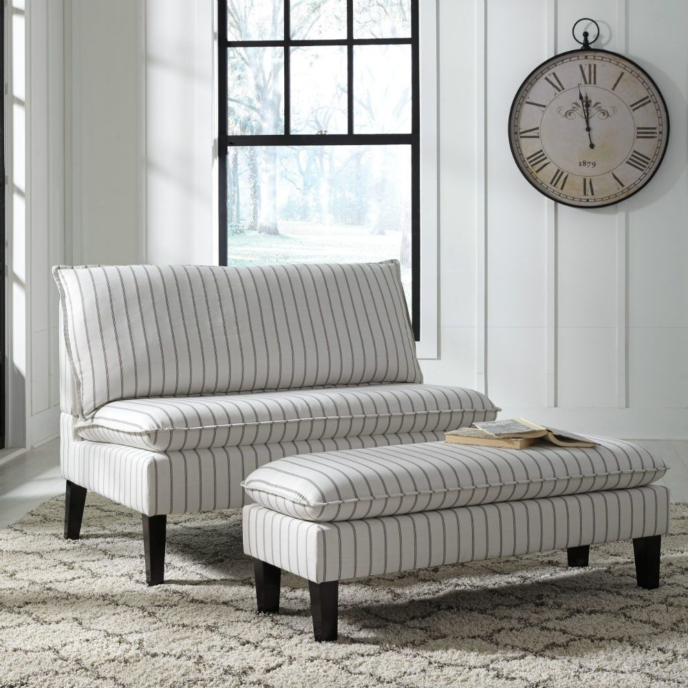 Meadow Pinstripe Accent Sette and Bench - Lifestyle