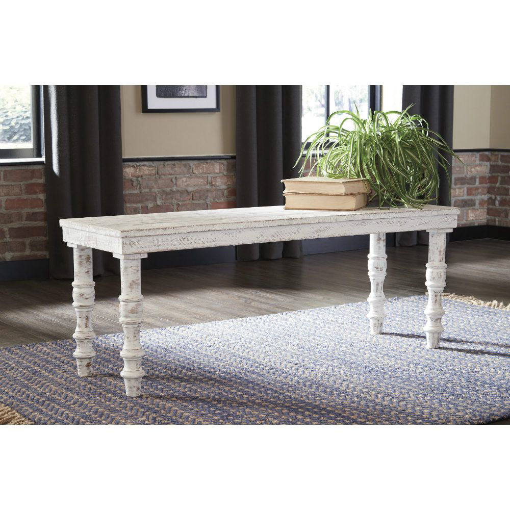 Danny Accent Bench - White - Lifestyle