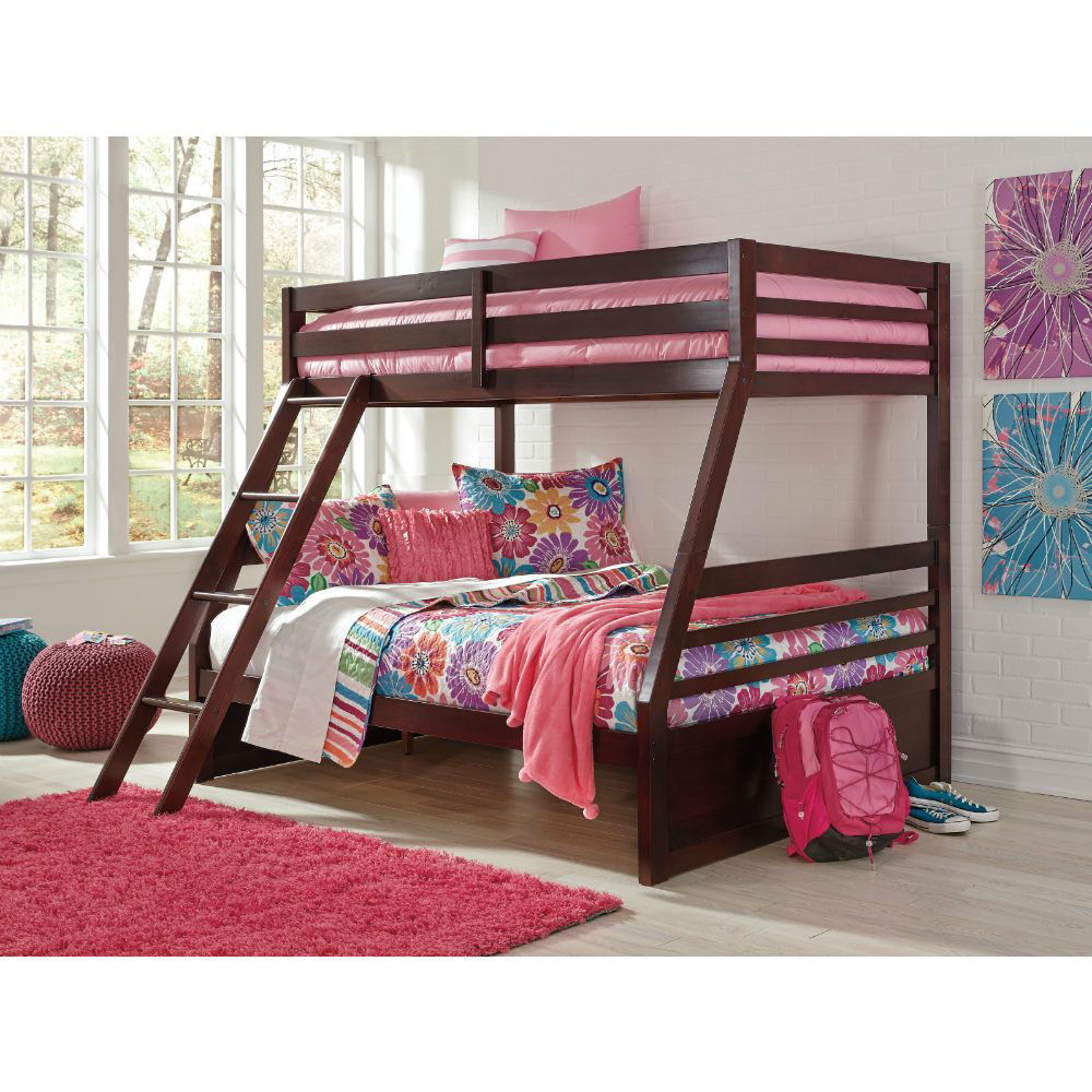 Helme Bunk Bed with Ladder - Twin/Full  - Girl Lifestyle