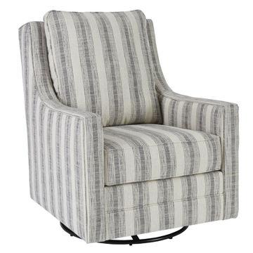 Kambria Swivel Gliding Chair - Ivory/Black