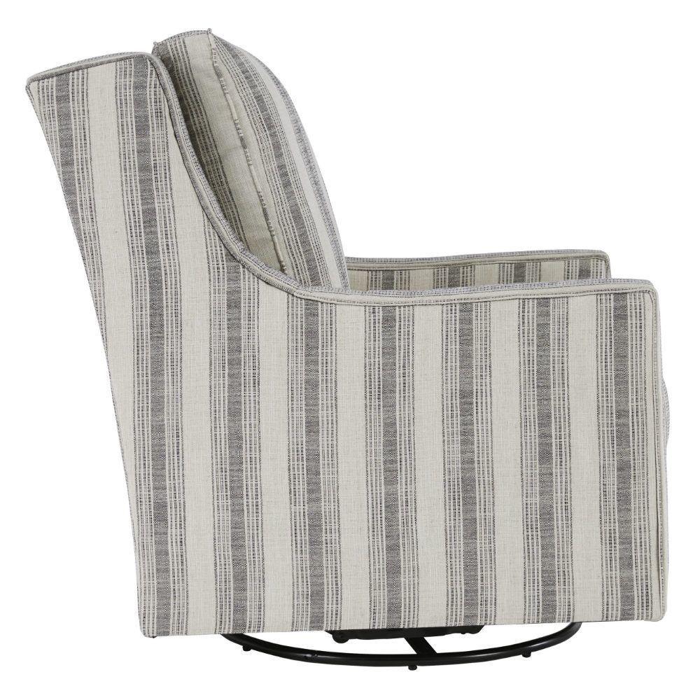 Kambria Swivel Gliding Chair - Ivory/Black - Side